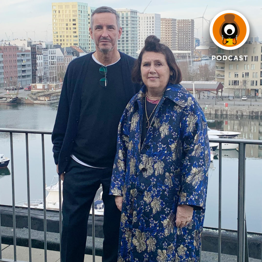 Suzy with Dries van Noten outside his studio in Antwerp